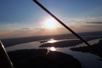 Полет на паратрайке на закате